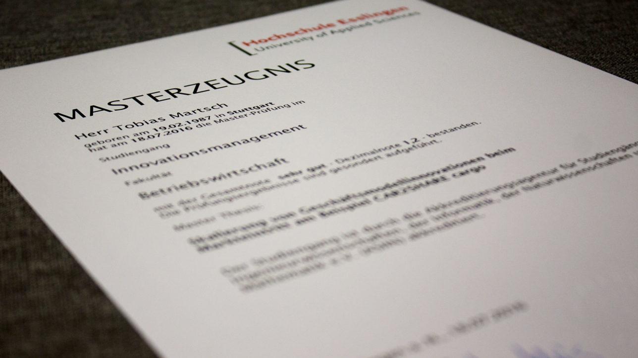 Masterzeugnis des geschäftsführenden Gesellschafters Tobias Martsch von der Hochschule Esslingen im Studiengang Innovationsmanagement